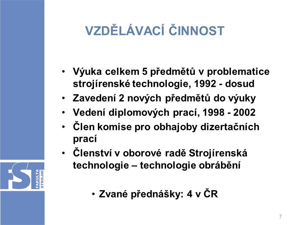 VZDĚLÁVACÍ ČINNOST Výuka celkem 5 předmětů v problematice strojírenské technologie, 1992 - dosud. Zavedení 2 nových předmětů do výuky.
