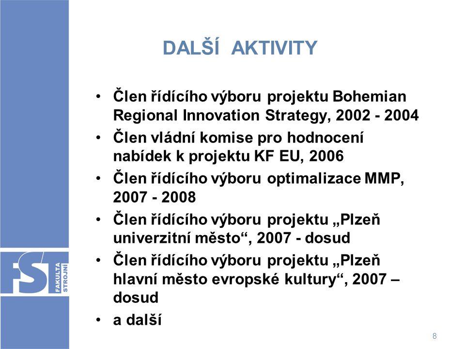 DALŠÍ AKTIVITY Člen řídícího výboru projektu Bohemian Regional Innovation Strategy, 2002 - 2004.