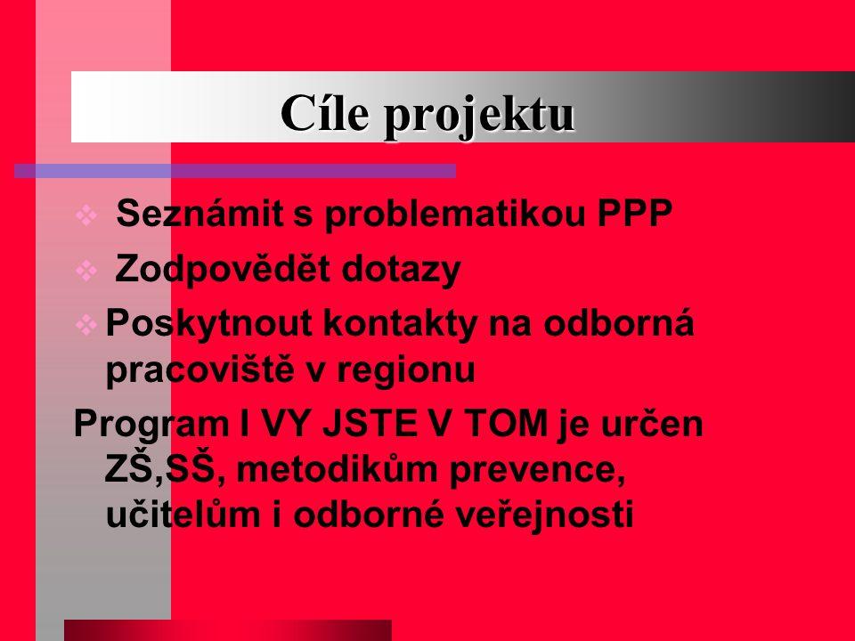 Cíle projektu Seznámit s problematikou PPP Zodpovědět dotazy
