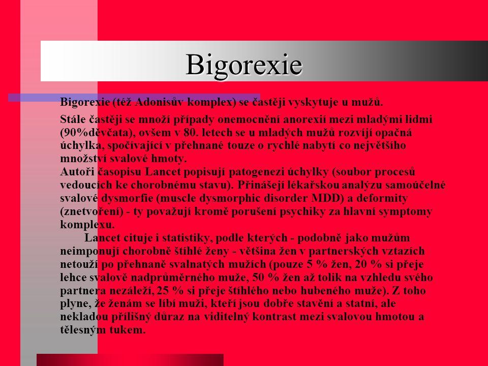 Bigorexie Bigorexie (též Adonisův komplex) se častěji vyskytuje u mužů.