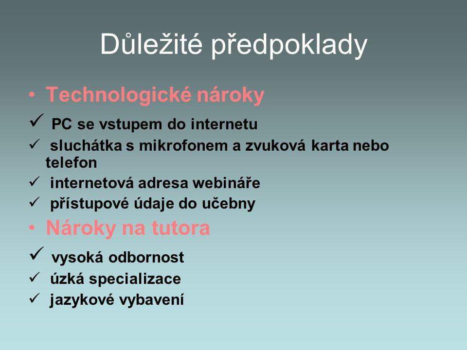 Důležité předpoklady Technologické nároky PC se vstupem do internetu