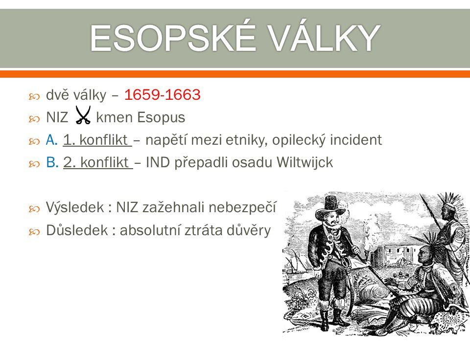 ESOPSKÉ VÁLKY dvě války – 1659-1663 NIZ kmen Esopus