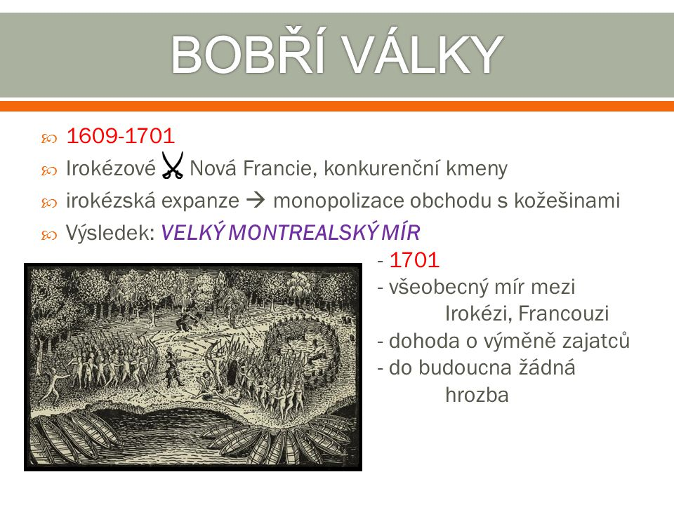 BOBŘÍ VÁLKY 1609-1701 Irokézové Nová Francie, konkurenční kmeny