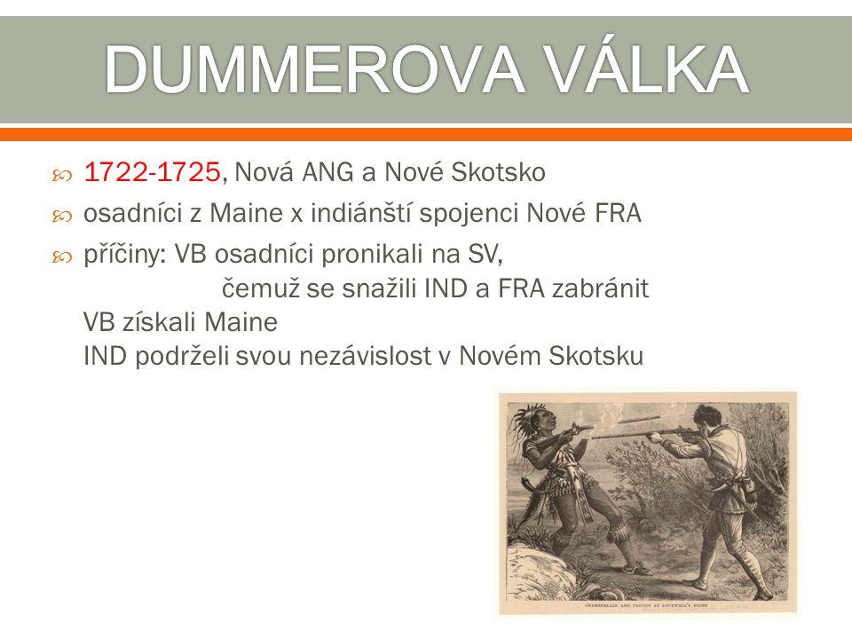 DUMMEROVA VÁLKA 1722-1725, Nová ANG a Nové Skotsko