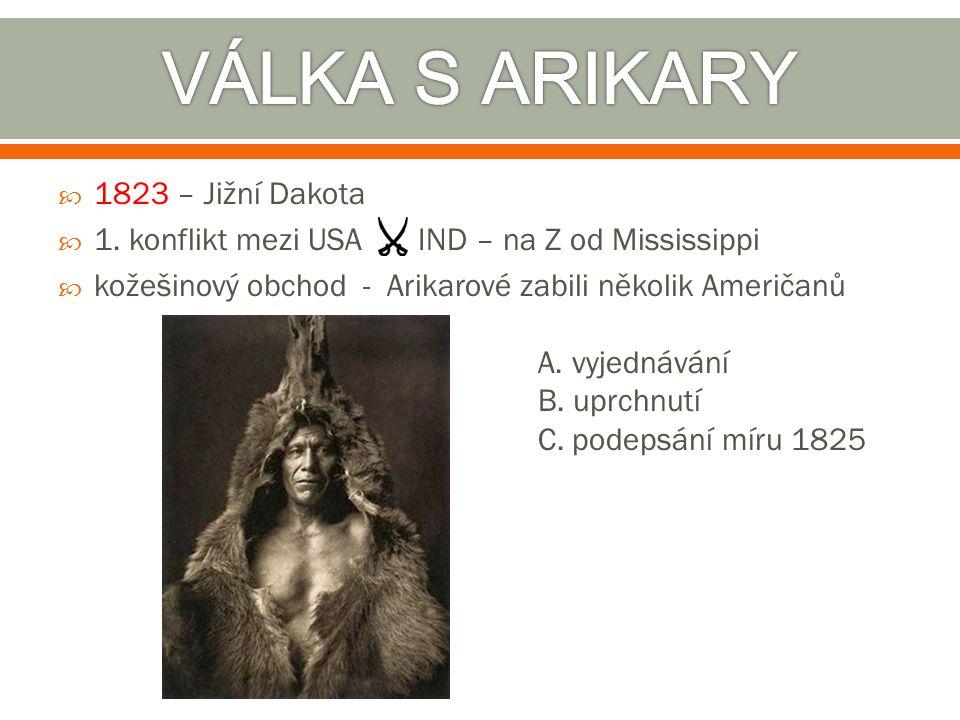 VÁLKA S ARIKARY 1823 – Jižní Dakota