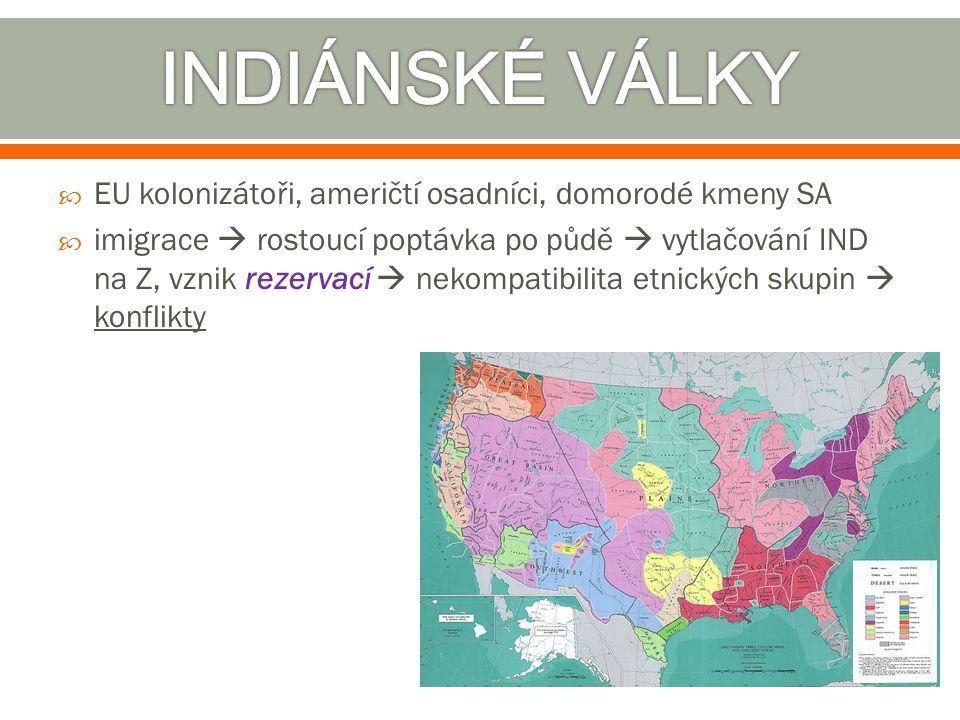 INDIÁNSKÉ VÁLKY EU kolonizátoři, američtí osadníci, domorodé kmeny SA