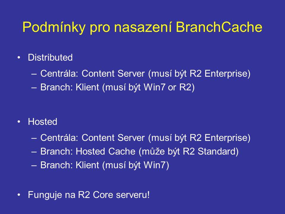 Podmínky pro nasazení BranchCache