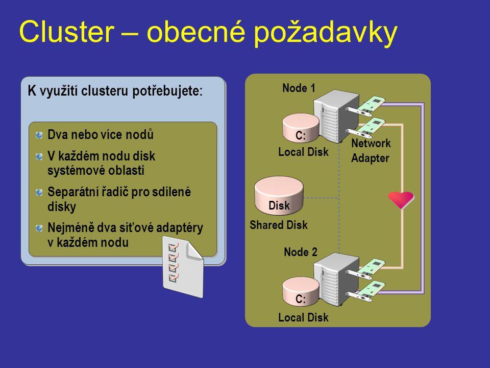 Cluster – obecné požadavky