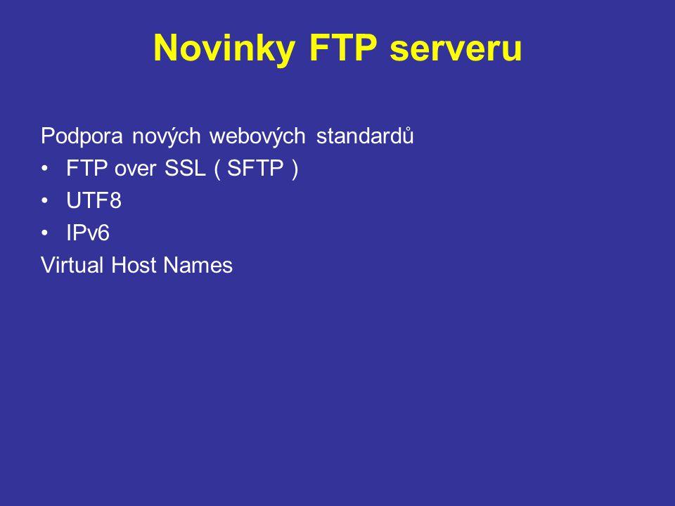 Novinky FTP serveru Podpora nových webových standardů