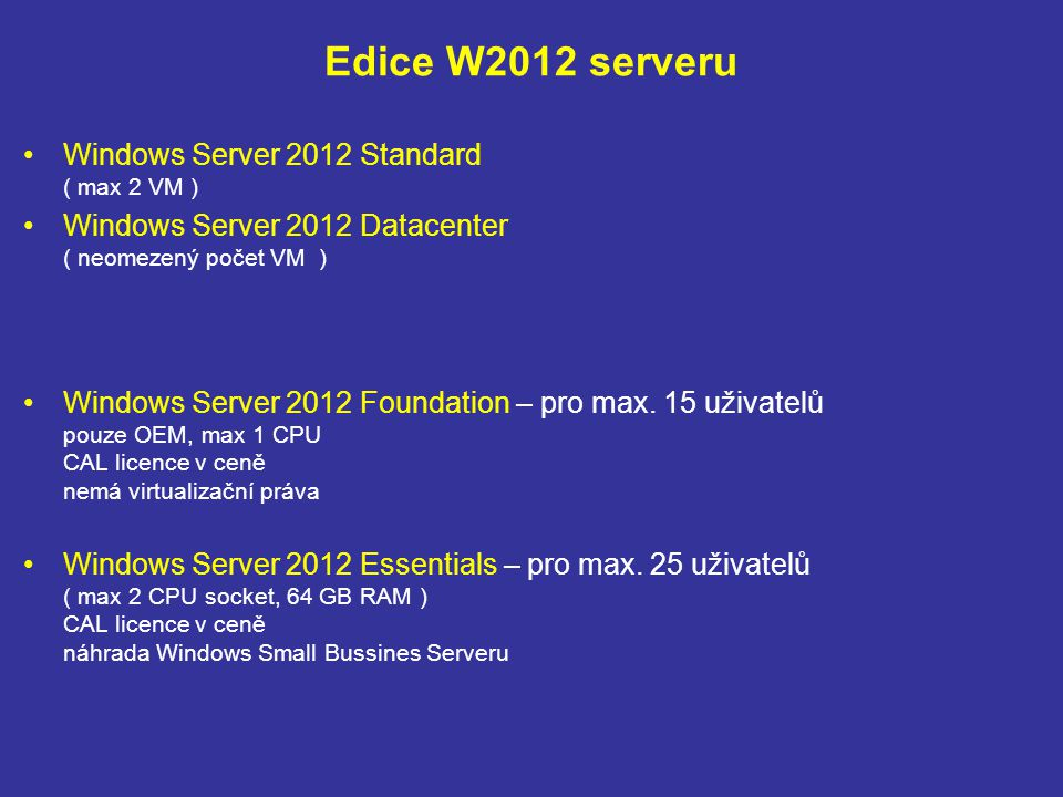 Edice W2012 serveru Windows Server 2012 Standard ( max 2 VM )