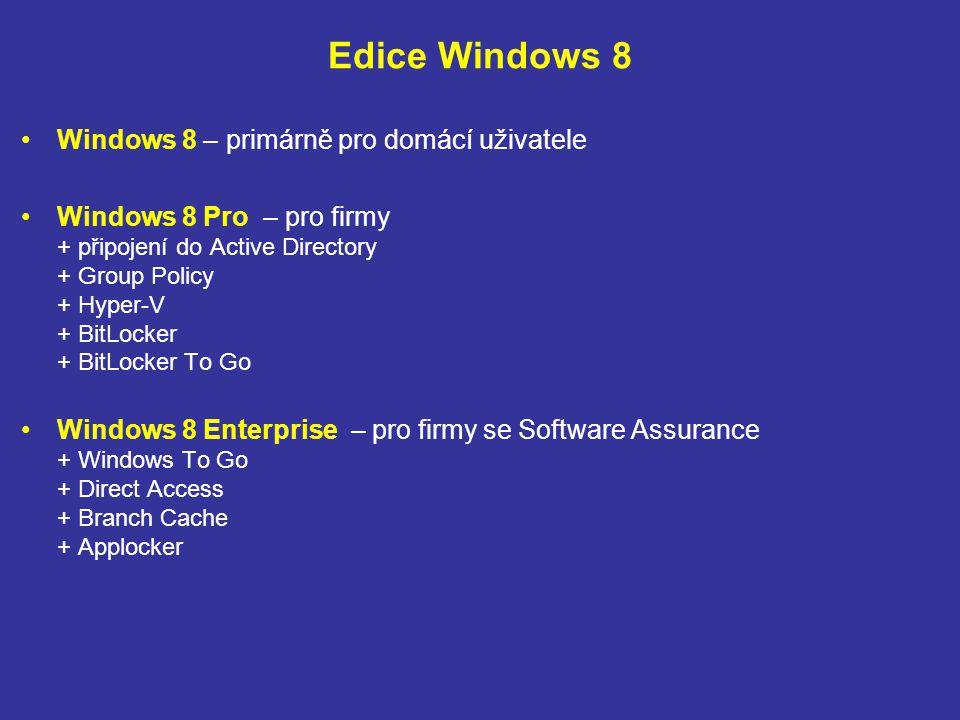 Edice Windows 8 Windows 8 – primárně pro domácí uživatele