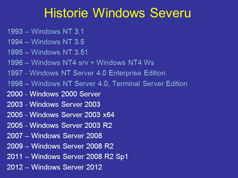 Historie Windows Severu