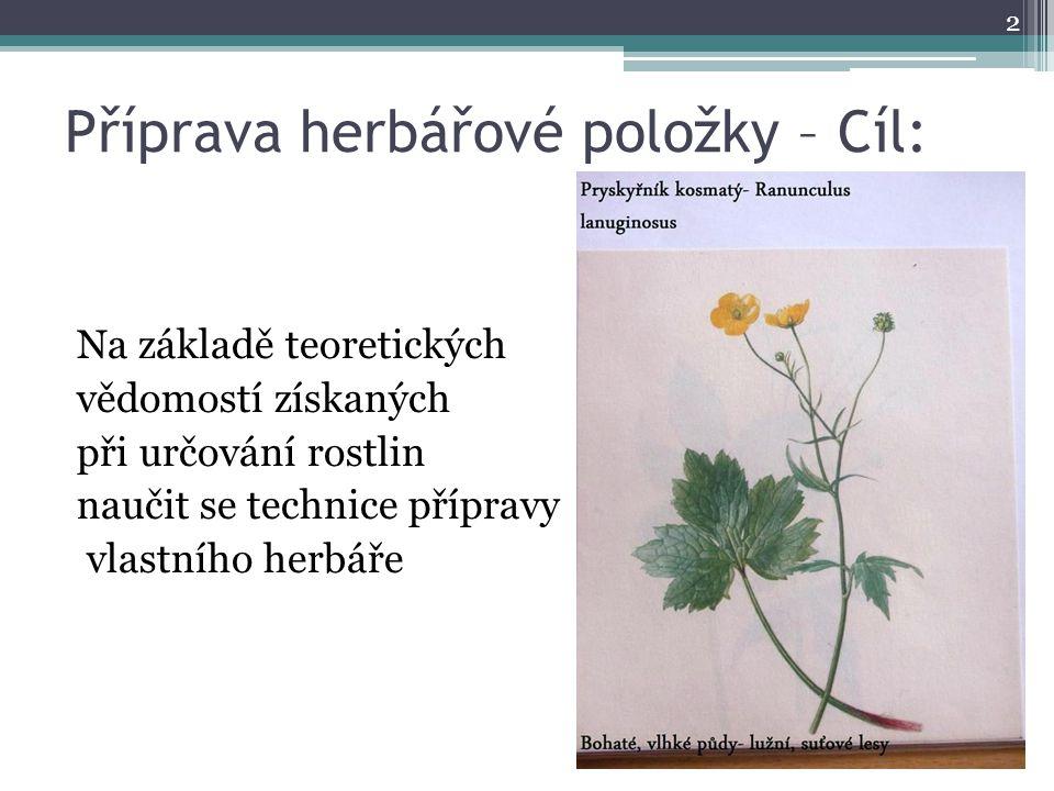 Příprava herbářové položky – Cíl: