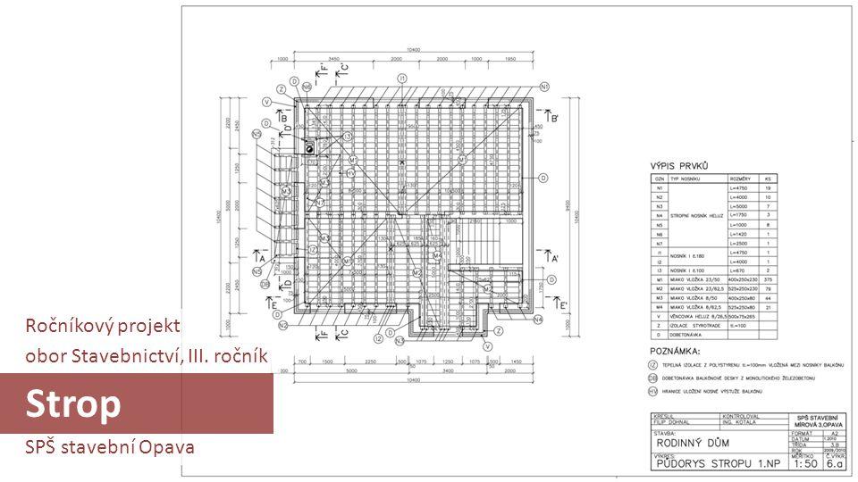 Strop Ročníkový projekt obor Stavebnictví, III. ročník