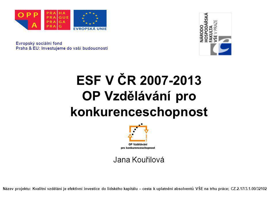 ESF V ČR 2007-2013 OP Vzdělávání pro konkurenceschopnost