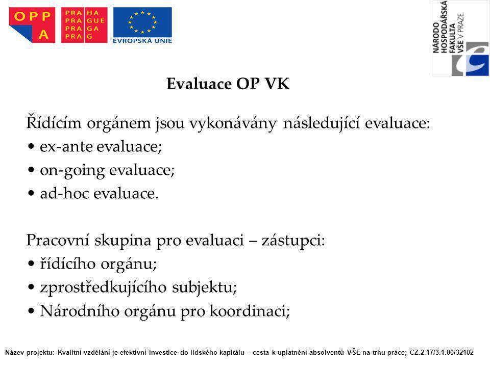 Řídícím orgánem jsou vykonávány následující evaluace: