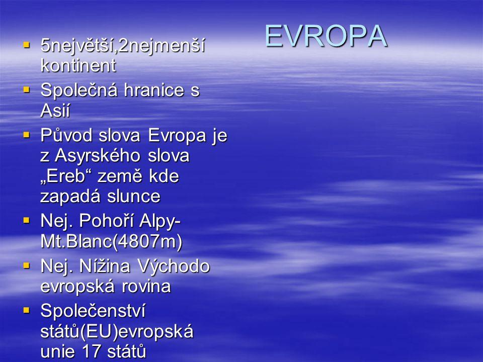 EVROPA 5největší,2nejmenší kontinent Společná hranice s Asií