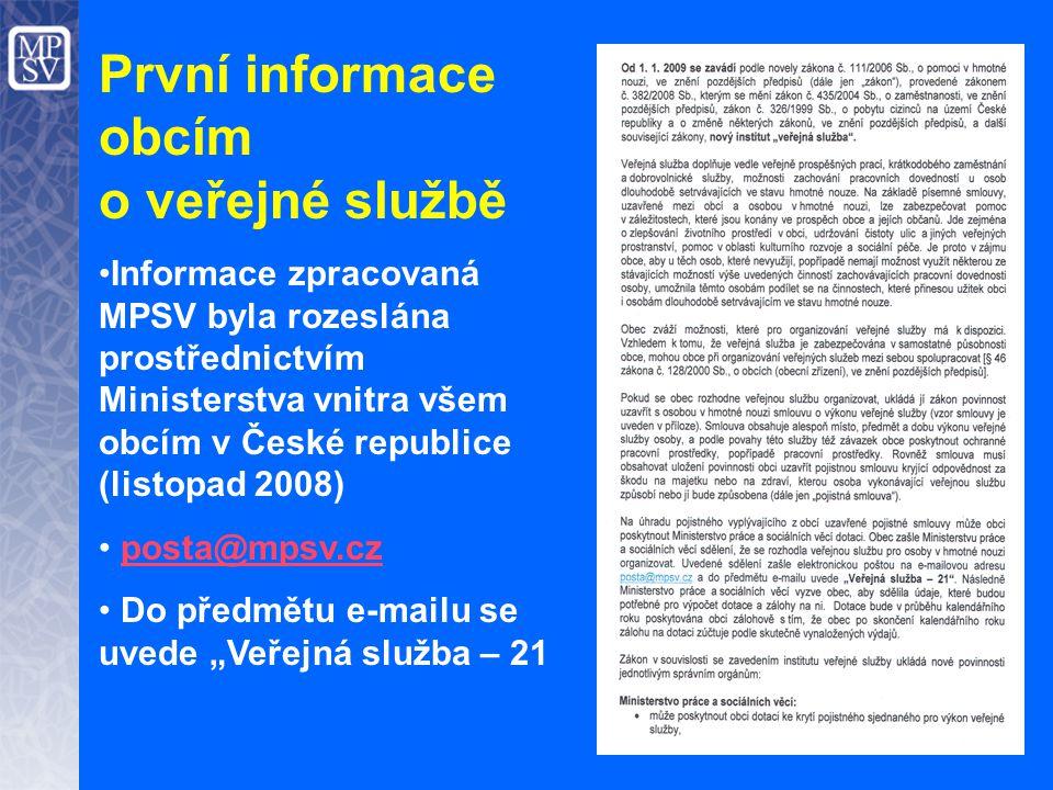 První informace obcím o veřejné službě