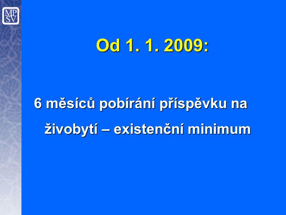Od 1. 1. 2009: 6 měsíců pobírání příspěvku na živobytí – existenční minimum