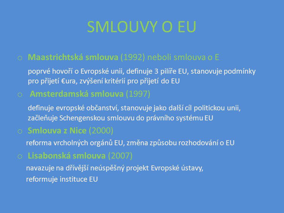 SMLOUVY O EU Maastrichtská smlouva (1992) neboli smlouva o E