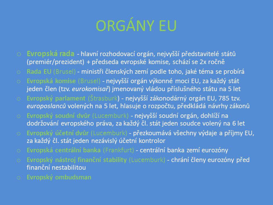 ORGÁNY EU Evropská rada - hlavní rozhodovací orgán, nejvyšší představitelé států (premiér/prezident) + předseda evropské komise, schází se 2x ročně.