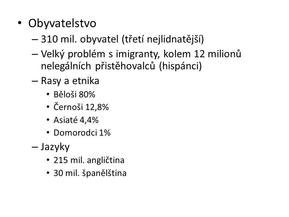 Obyvatelstvo 310 mil. obyvatel (třetí nejlidnatější)