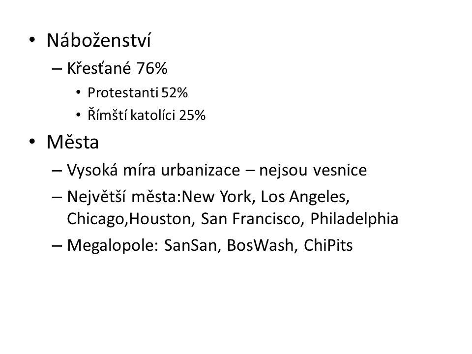 Náboženství Města Křesťané 76% Vysoká míra urbanizace – nejsou vesnice
