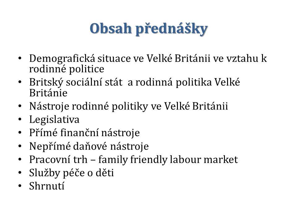 Obsah přednášky Demografická situace ve Velké Británii ve vztahu k rodinné politice. Britský sociální stát a rodinná politika Velké Británie.