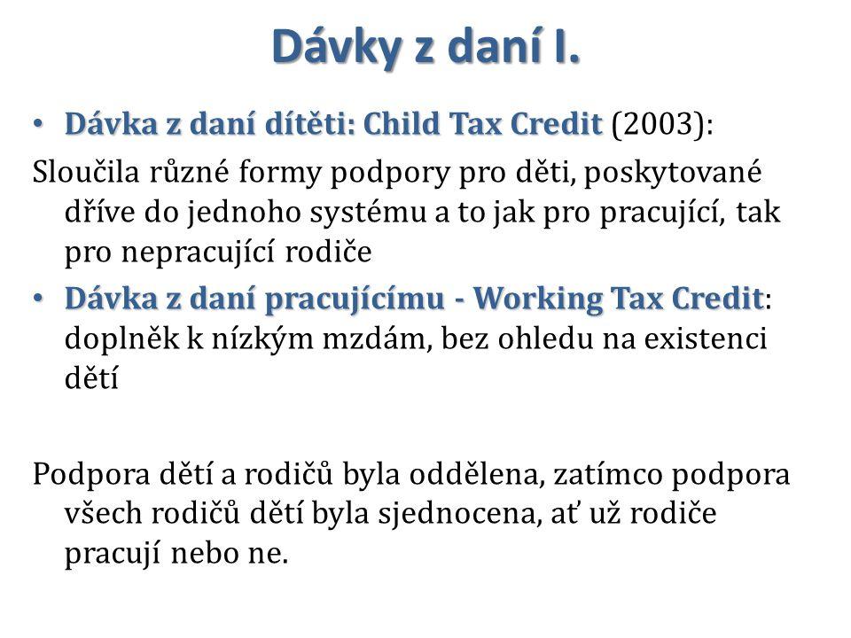 Dávky z daní I. Dávka z daní dítěti: Child Tax Credit (2003):