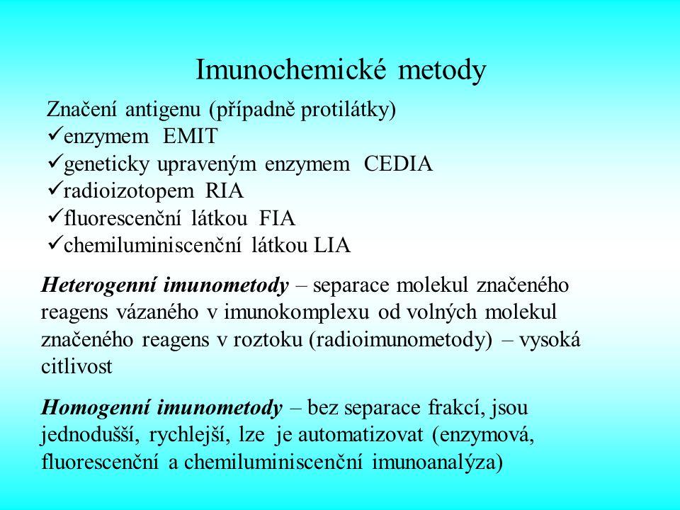 Imunochemické metody Značení antigenu (případně protilátky)