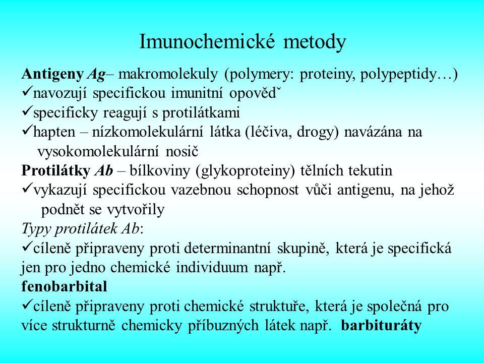 Imunochemické metody Antigeny Ag– makromolekuly (polymery: proteiny, polypeptidy…) navozují specifickou imunitní opovědˇ.