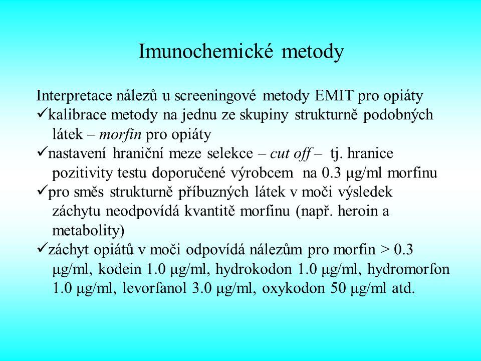 Imunochemické metody Interpretace nálezů u screeningové metody EMIT pro opiáty. kalibrace metody na jednu ze skupiny strukturně podobných.