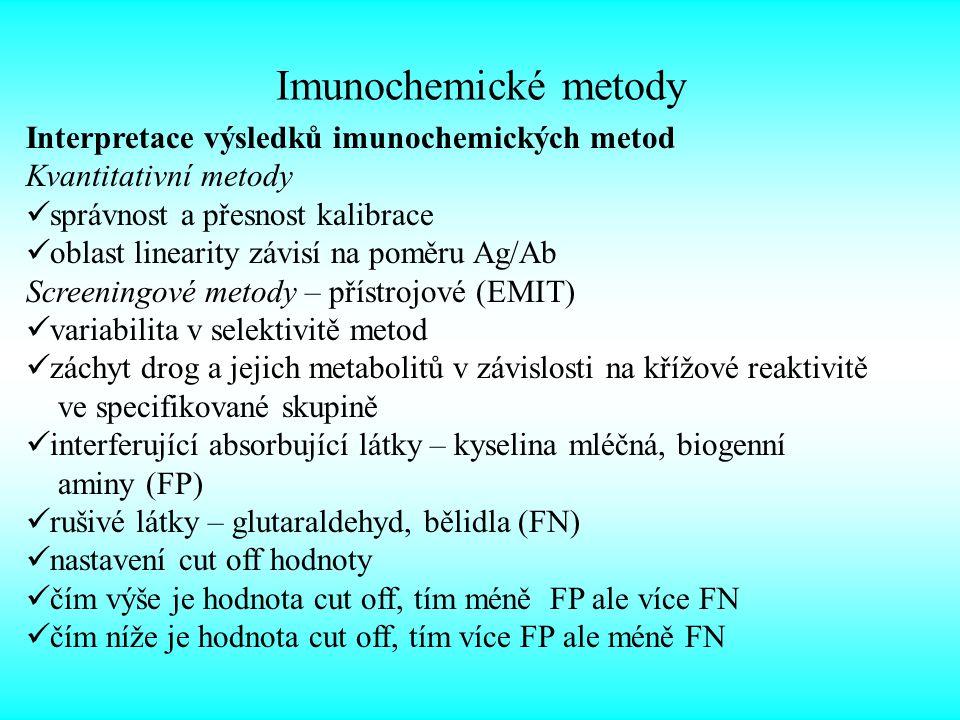 Imunochemické metody Interpretace výsledků imunochemických metod