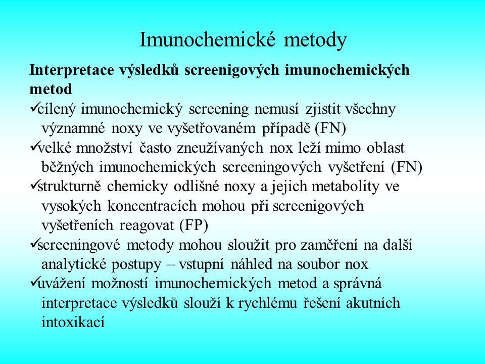 Imunochemické metody Interpretace výsledků screenigových imunochemických metod. cílený imunochemický screening nemusí zjistit všechny.