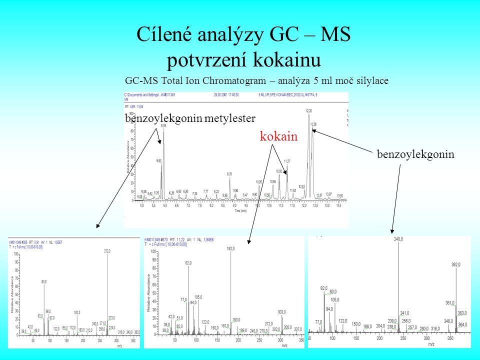 Cílené analýzy GC – MS potvrzení kokainu