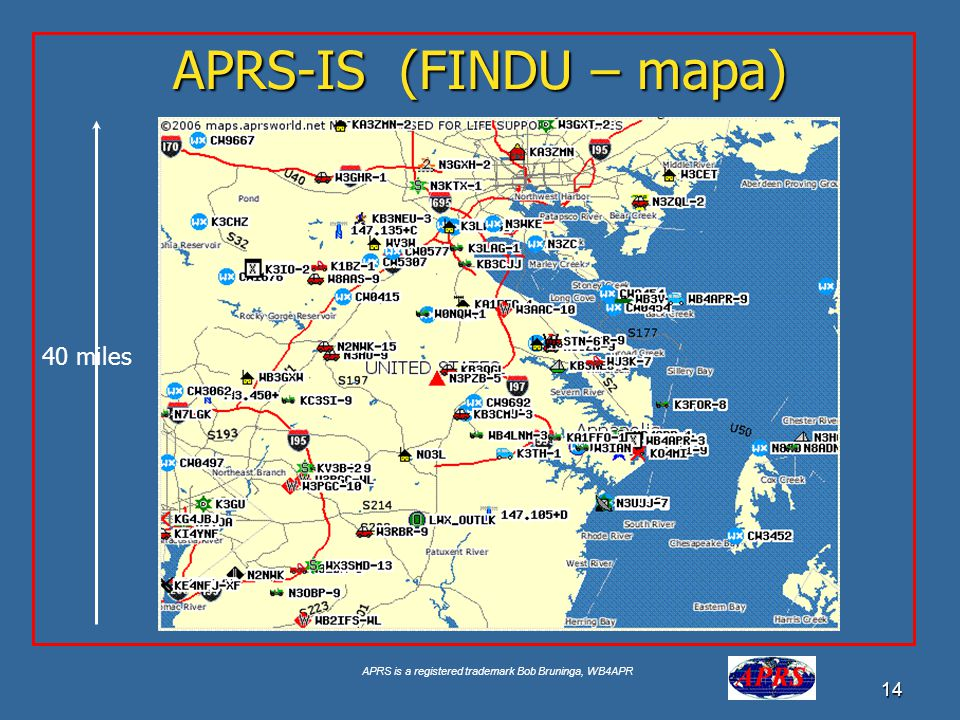 APRS-IS (FINDU – mapa) Google for USNA Buoy Select USNA-1 40 miles