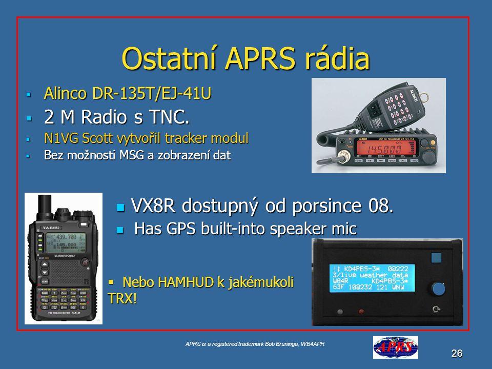 Ostatní APRS rádia 2 M Radio s TNC. VX8R dostupný od porsince 08.