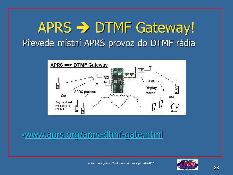 APRS  DTMF Gateway! Převede místní APRS provoz do DTMF rádia