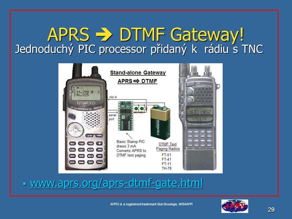 APRS  DTMF Gateway! Jednoduchý PIC processor přidaný k rádiu s TNC