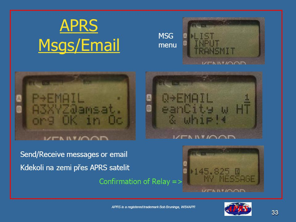 APRS Msgs/ MSG menu Send/Receive messages or