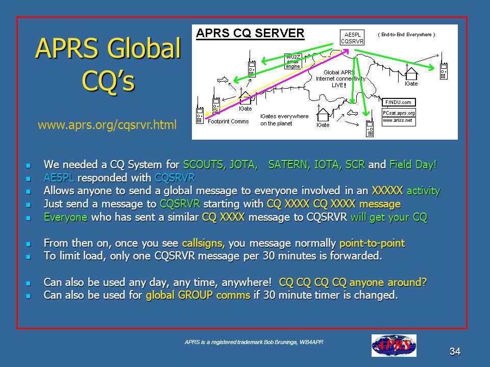 APRS Global CQ's www.aprs.org/cqsrvr.html