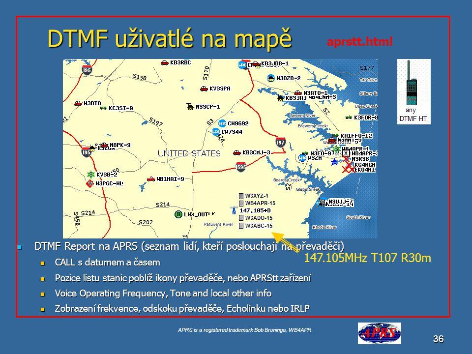DTMF uživatlé na mapě aprstt.html 147.105MHz T107 R30m