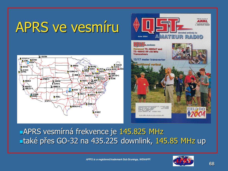 APRS ve vesmíru APRS vesmírná frekvence je 145.825 MHz