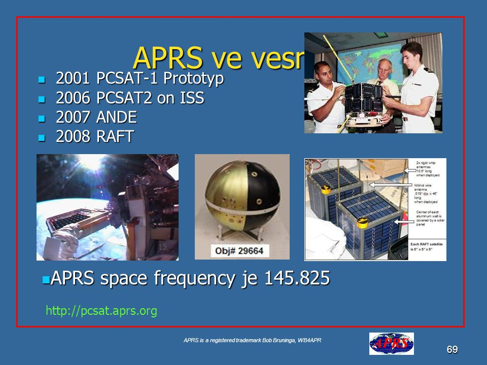 APRS ve vesmíru APRS space frequency je 145.825 2001 PCSAT-1 Prototyp
