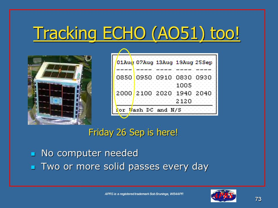 Tracking ECHO (AO51) too! Friday 26 Sep is here! No computer needed