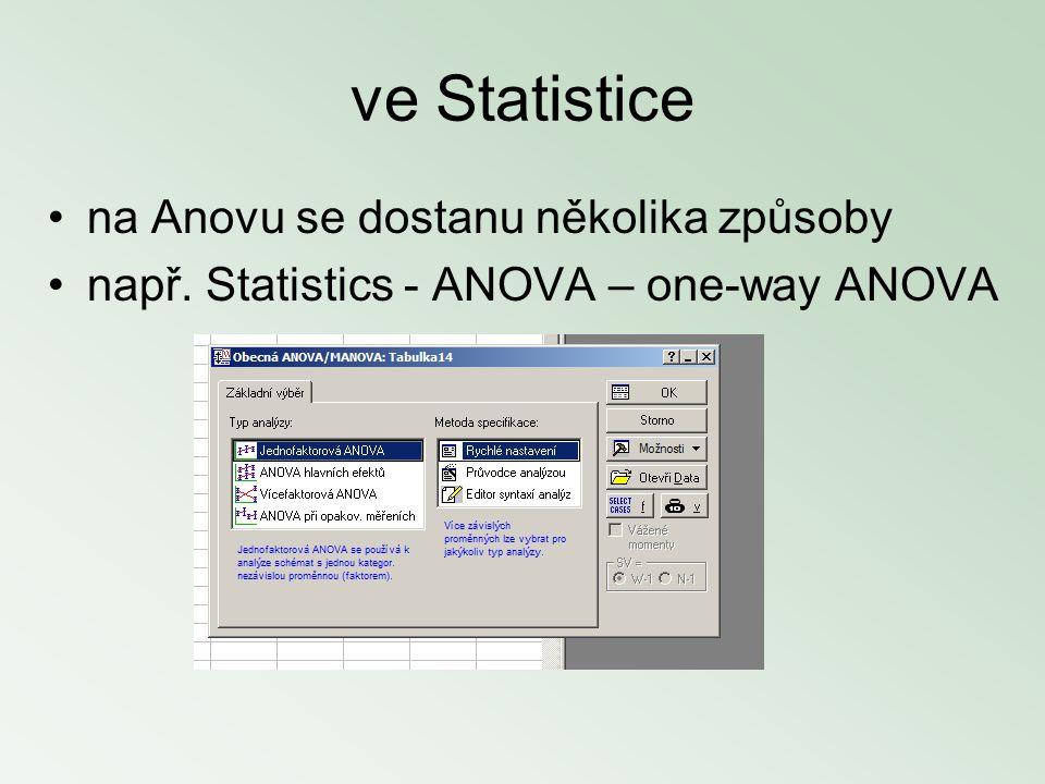 ve Statistice na Anovu se dostanu několika způsoby