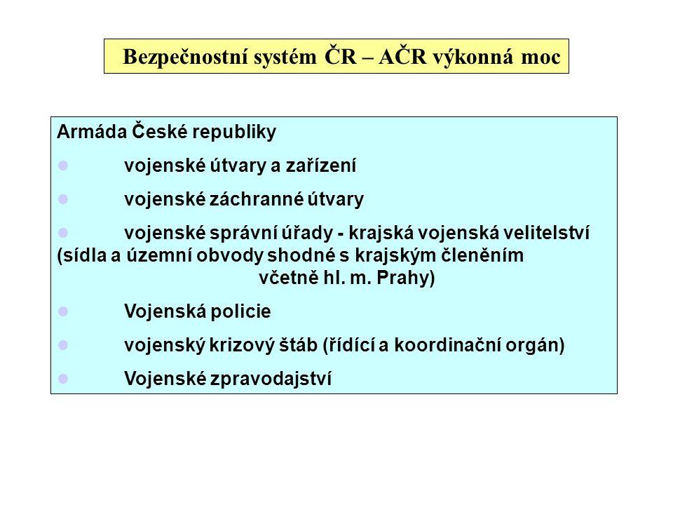 Bezpečnostní systém ČR – AČR výkonná moc