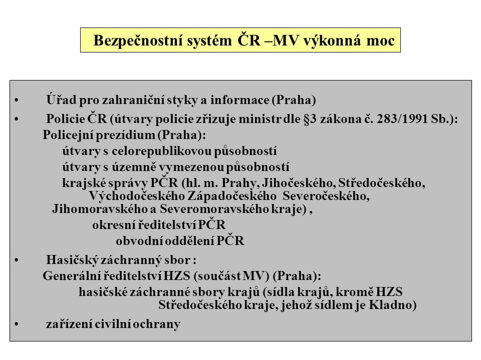 Bezpečnostní systém ČR –MV výkonná moc