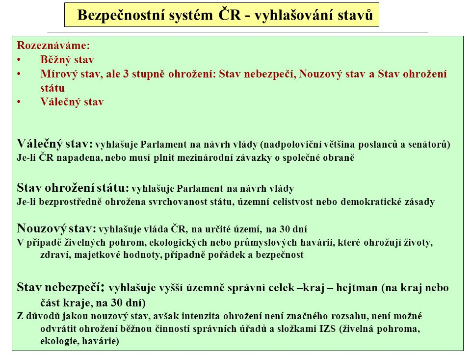 Bezpečnostní systém ČR - vyhlašování stavů