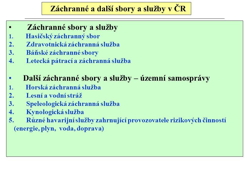 Záchranné a další sbory a služby v ČR